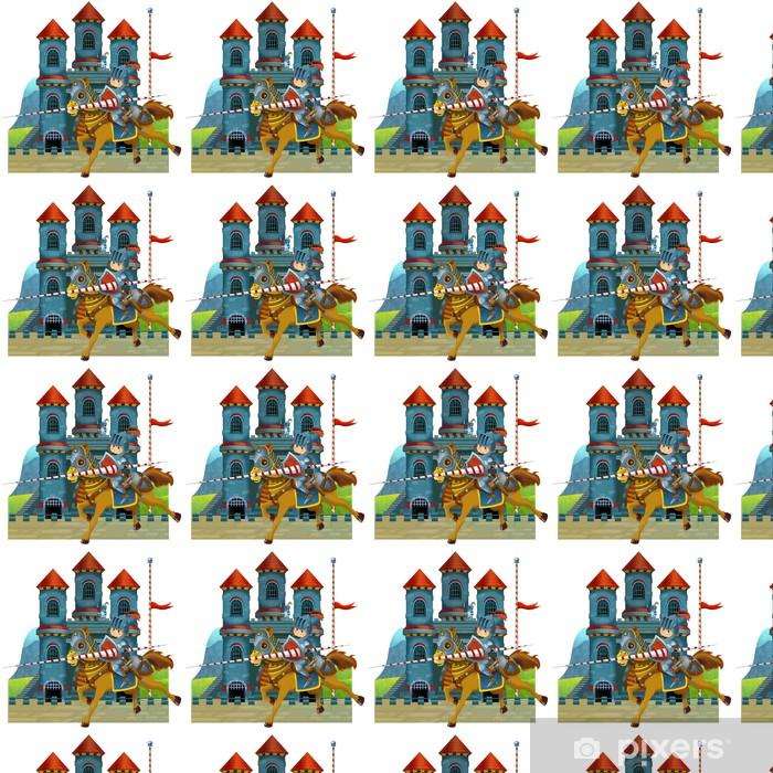 Papier peint vinyle sur mesure L'illustration de bande dessinée médiévale pour les enfants - Monuments