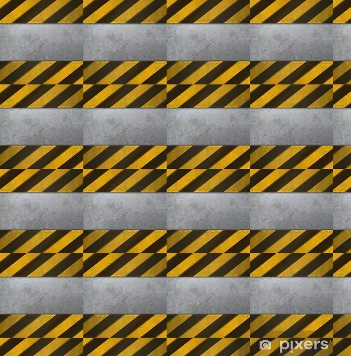 Vinyltapete nach Maß Metallplatte mit Vorsicht Streifen - Texturen