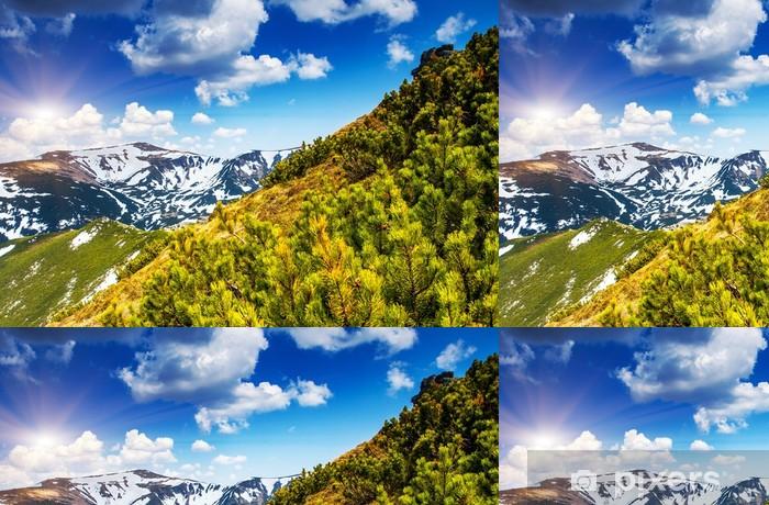 Vinil Duvar Kağıdı Dağ manzara - Mevsimler