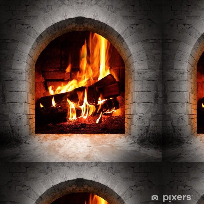 Vinyltapet Vintage peis med brennende logger. - Fireplace