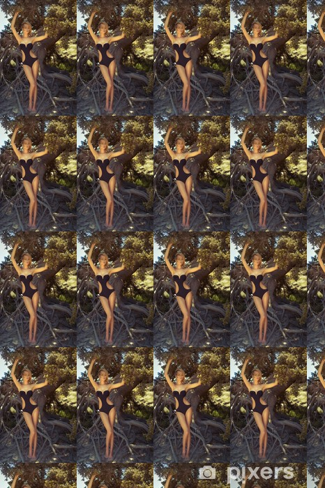 Vinyl behang, op maat gemaakt Mooie dame met machtige boom - Vrouwen
