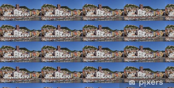 Papier peint vinyle sur mesure Vue panoramique de Bosa et de la rivière Temo.Sardinia, Italie. - Saisons