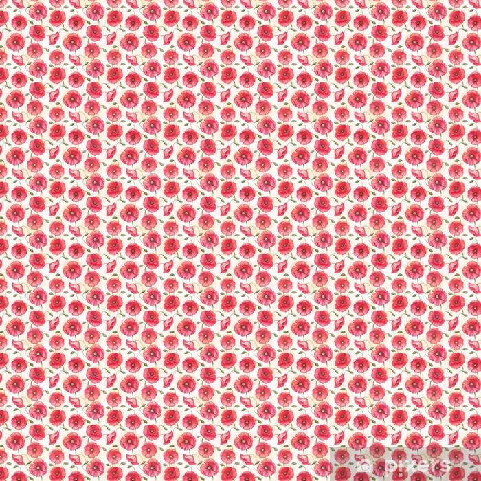 Papier peint vinyle sur mesure Fleurs de pavot d'aquarelle, seamless - Textures
