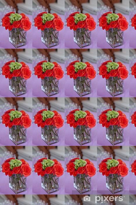 """Vinyl behang, op maat gemaakt Rode roos """"Grote"""" in de transparante glazen vaas - Bloemen"""