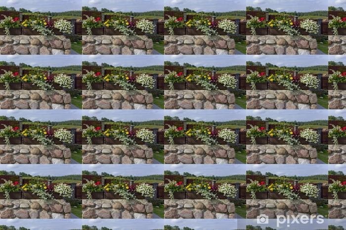 Papier peint vinyle sur mesure Paysage floral de village - Paysages urbains