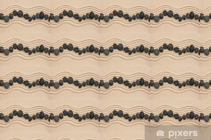 Papier peint vinyle sur mesure Pierres noires sur le sable - Thèmes
