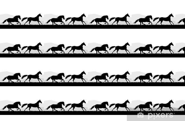 Papier peint vinyle sur mesure Deux Running Horse - Mammifères