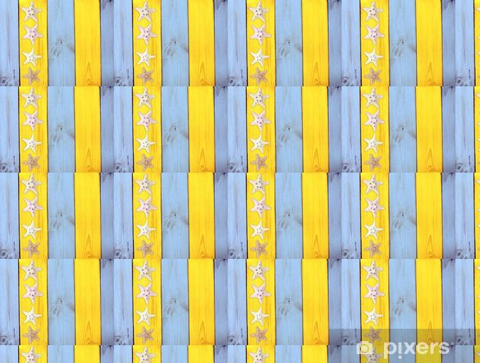 Vinyl behang, op maat gemaakt Zeesterren op houtstructuur - Achtergrond