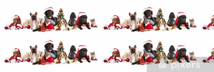 dog and cat and kitens wearing a santa hat Vinyl Wallpaper - Mammals