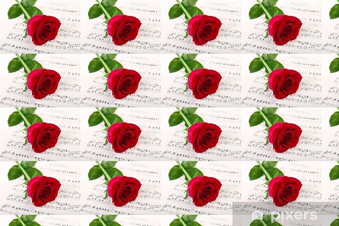 Papier peint vinyle sur mesure Rose rouge et musique - Thèmes
