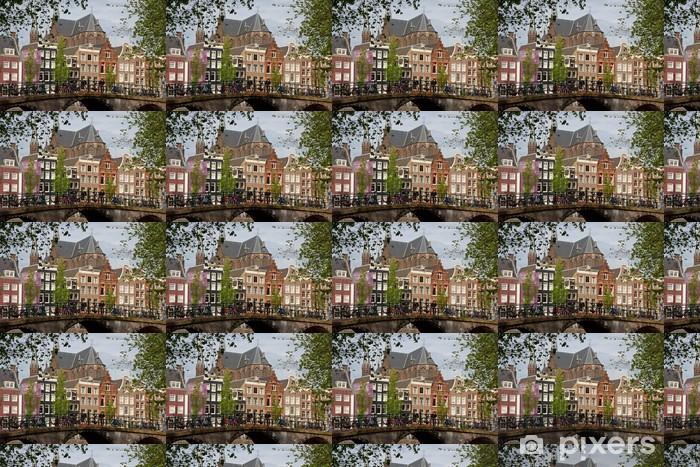 Vinylová tapeta na míru Amsterdam pohled s mostem a typické holandské domy - Infrastruktura