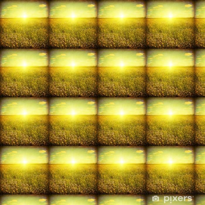 Tapeta na wymiar winylowa Grunge obraz polu latem o zachodzie słońca. - Pory roku