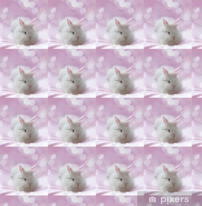 Papier peint vinyle sur mesure Petit lapin blanc et fond rose - Mammifères