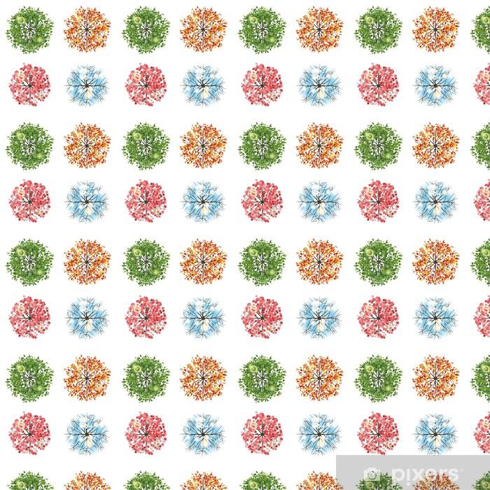 Papier peint vinyle sur mesure Icône Arbre en 4 saisons différentes - vue de dessus - Arbres