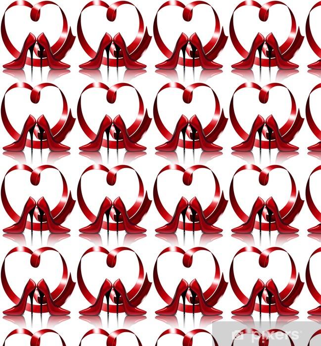 Tapeta na wymiar winylowa Piękne czerwone buty na tle serca z taśmy - Moda