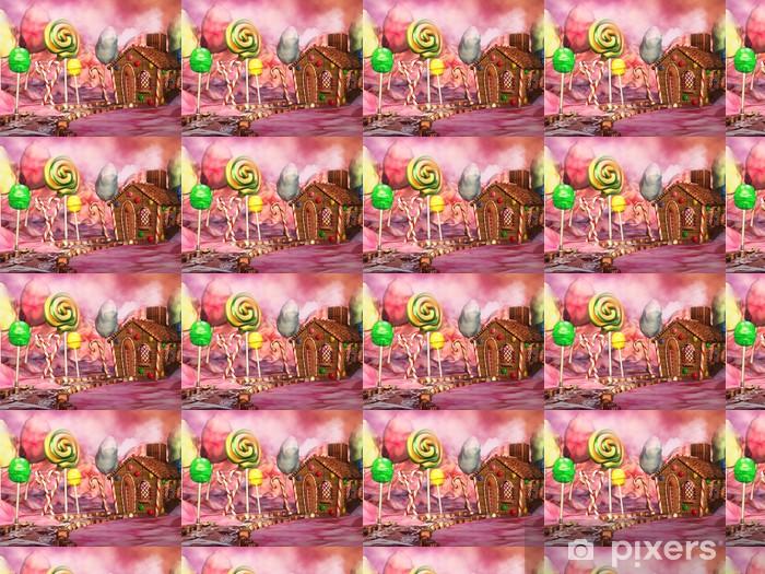 Papier peint vinyle sur mesure Paysage coloré avec chalet en pain d'épice, sucettes et chocolats - Destin