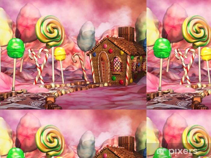 Vinyltapet Kolorowy krajobraz z domkiem z piernika, lizakami i czekoladkami -