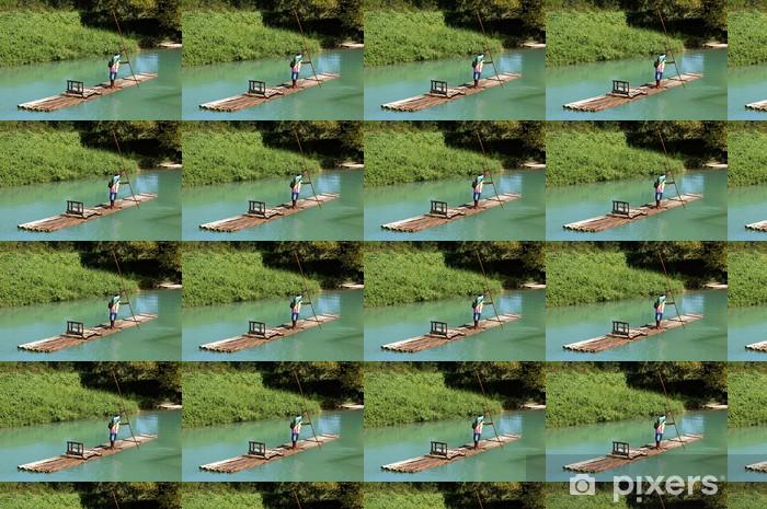 Vinyl behang, op maat gemaakt Navigatie bamboevlot - Amerika