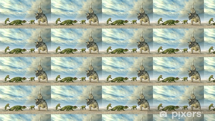Tapeta na wymiar winylowa Die Doliosauriscus dinosaurier und Diabloceratops - Tematy