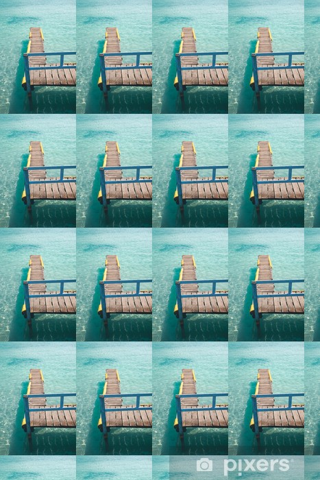Old wood pier on a turquoise water sea. Vinyl custom-made wallpaper - Holidays