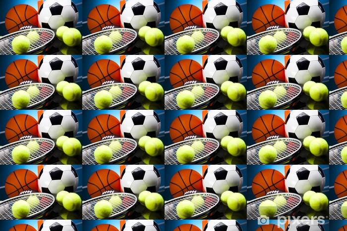 Papier peint vinyle sur mesure Quatre Sports, beaucoup de balles et des trucs - Tennis