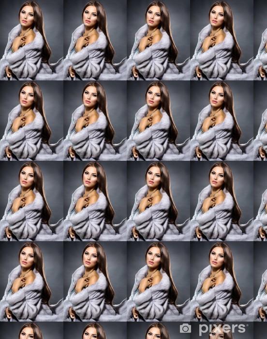 Tapeta na wymiar winylowa Girl Fashion Beauty Model in Blue Coat futra norek - Akcesoria