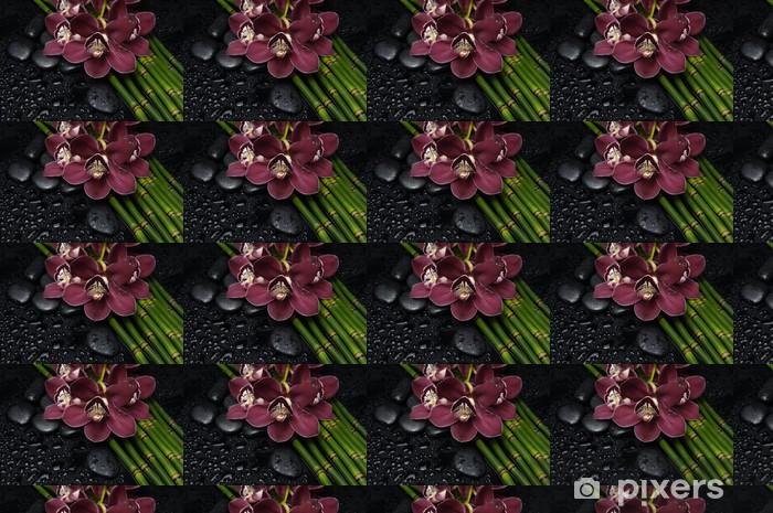 Tapeta na wymiar winylowa Red orchidea i zen kamienie i cienki bambusowy gaj - Uroda i pielęgnacja ciała