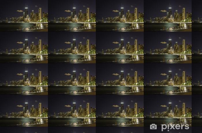 Papier peint vinyle sur mesure Downtown Chicago la nuit - Amérique