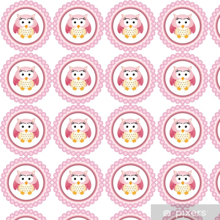 Pink Owl Round Label Vinyl custom-made wallpaper - Happiness