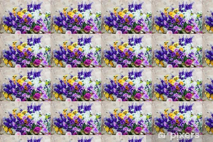 Papier peint vinyle sur mesure Bouquets colorés - Fleurs