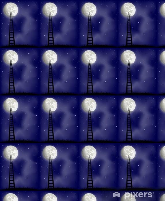 Vinyl behang, op maat gemaakt Ladder naar de maan, vector illustratie - Thema's