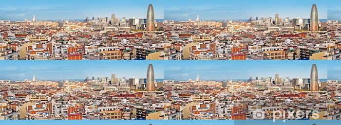 Papier peint à motifs vinyle Panorama de Barcelone, avec la Torre Agbar - Thèmes