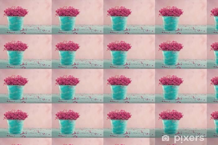 Tapeta na wymiar winylowa Baby pink w kwiaty oddech na drewnianym tle - Kwiaty