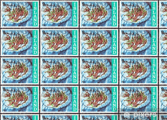 Tapeta na wymiar winylowa Islandia kontur mapa i szelf kontynentalny (Islandia 1972) - Akcesoria