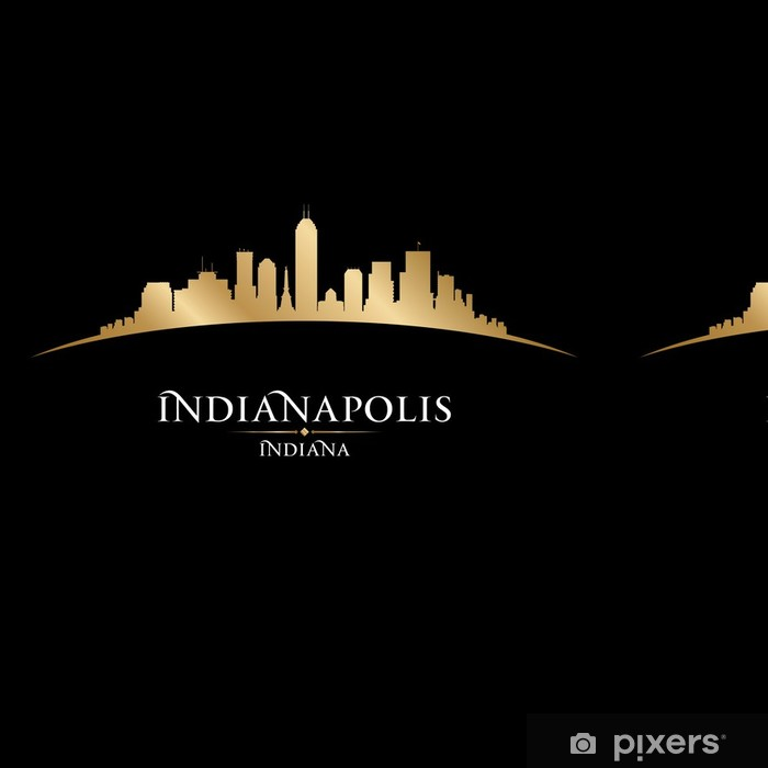 Vinil Duvar Kağıdı Indianapolis Indiana kentin siluetini siluet siyah arka plan - Amerika