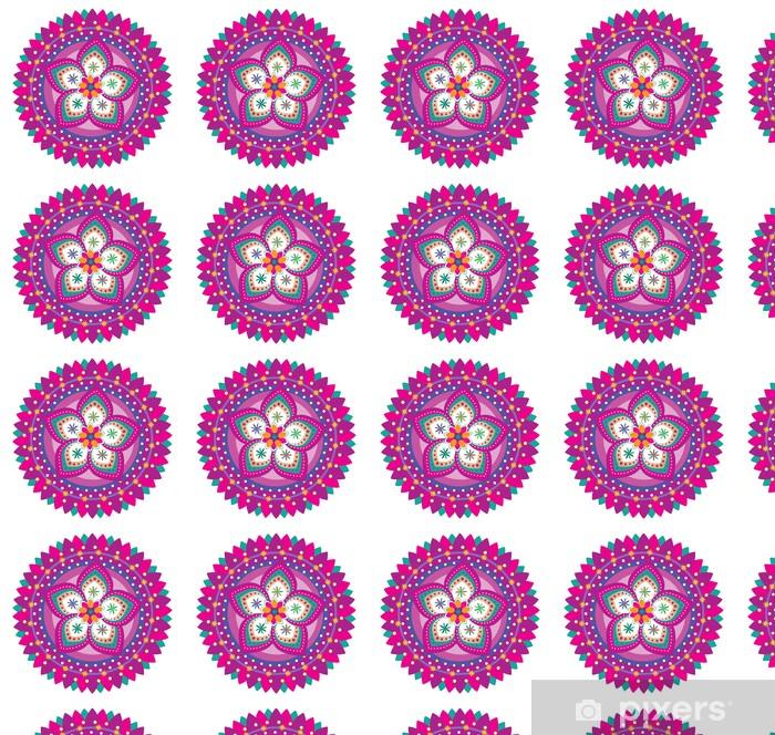 Vinyl behang, op maat gemaakt Bloempatroon ornament (mandala stijl) - Muursticker