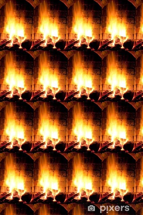 fire in fireplace Wallpaper - Vinyl Custom-made