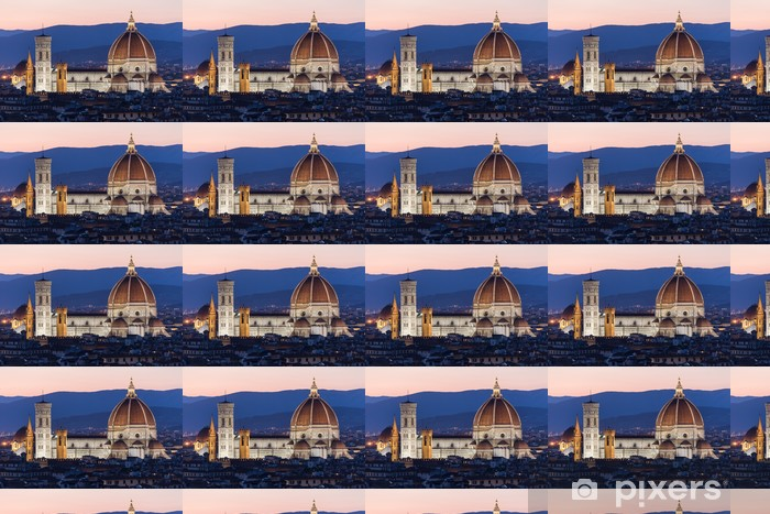 Tapeta na wymiar winylowa Katedra Santa Maria del Fiore we Florencji w nocy - Europa