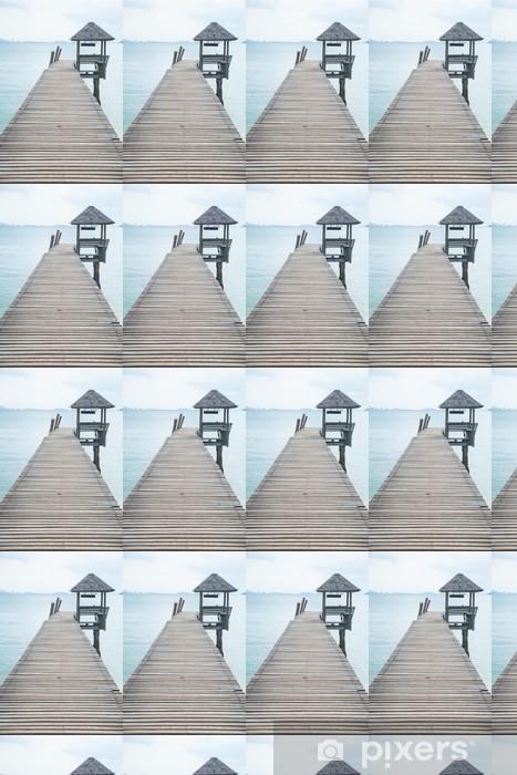 Papier peint vinyle sur mesure Pont de bois dans la mer - Infrastructures