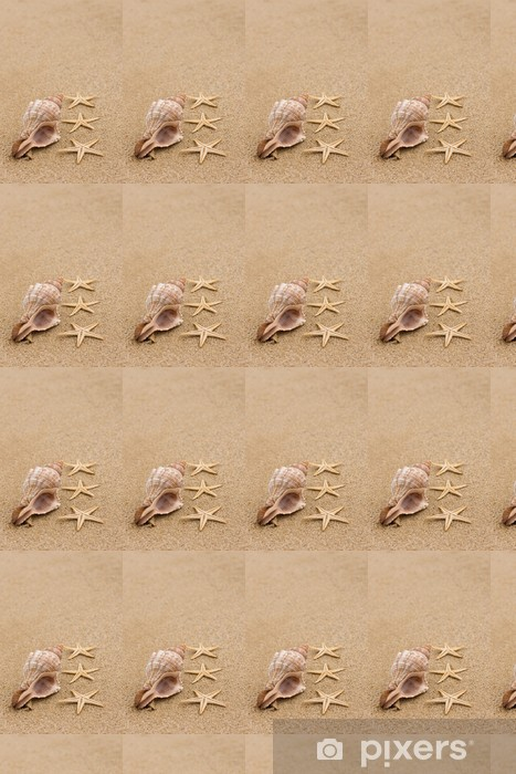 Conch shell and starfish at beach close up Vinyl custom-made wallpaper - Seasons