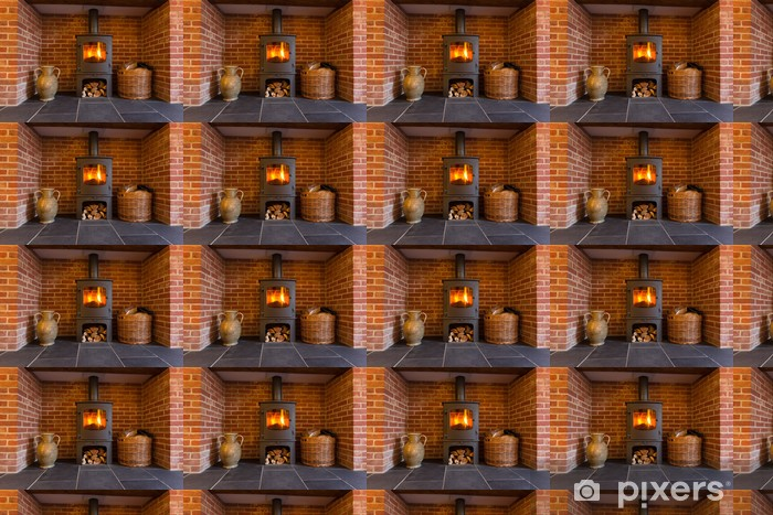 Wood burning stove in brick fireplace Wallpaper - Vinyl Custom-made