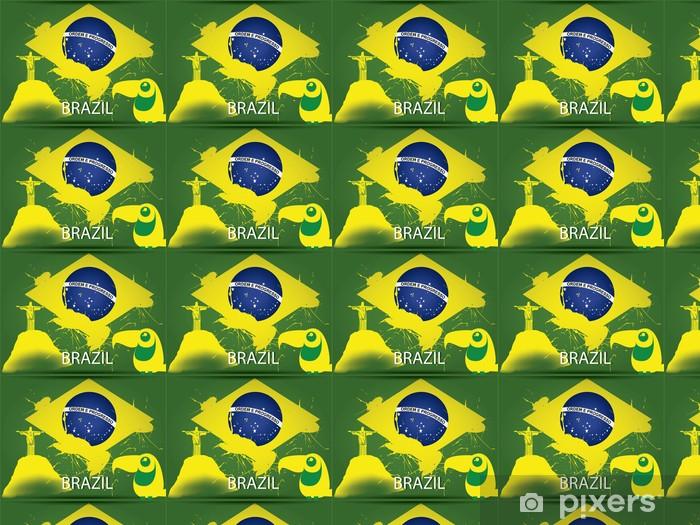 Vinyl behang, op maat gemaakt De vlag van Brazilië - Vakantie