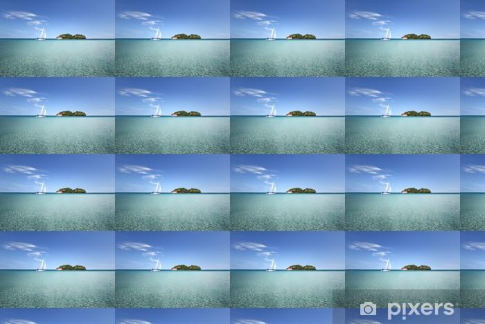Papel pintado estándar a medida Isla en medio de una laguna con velero - Logros