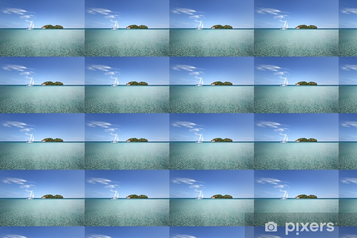 Vinyltapete nach Maß Île au milieu d'un lagon avec voilier - Leistung und Erfolg