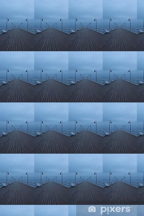 Sunrise on the pier at the seaside, Gdynia Orlowo, Poland. Long Vinyl custom-made wallpaper - Pier