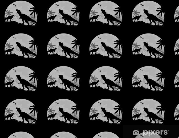 Papier peint vinyle sur mesure Dinosaures vecteur Silhouettes devant une pleine lune - Thèmes