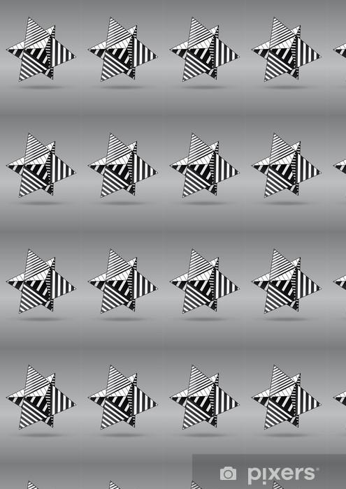 Vinyl behang, op maat gemaakt Dubbele tetraëder met zwart-wit gestreepte gezichten - Abstract
