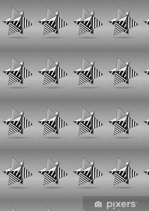 dual tetrahedron with black and white striped faces Vinyl custom-made wallpaper - Abstract