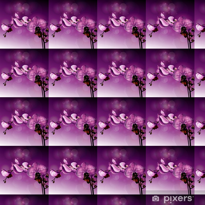 3d Dark Pink Orchid Flower Illustration Wallpaper Vinyl Custom Made