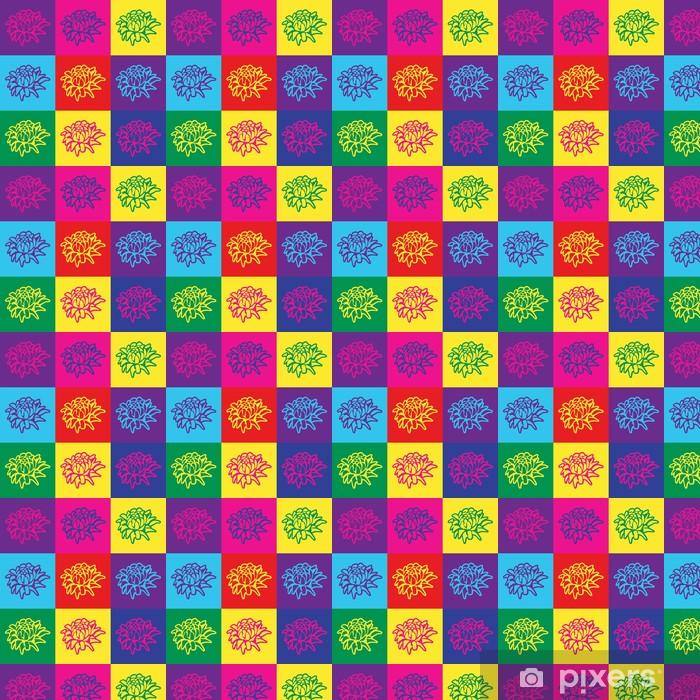 Pop art illustration with colorful flowers Vinyl Custom-made Wallpaper -